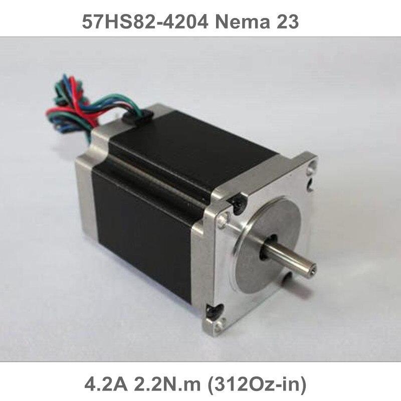 1 шт. Nema23 шаговый двигатель 57x82 мм 4.2A 2.2N.m 57HS82-4204 Nema 23 82 мм 312Oz-in для 3D принтера гравировальный фрезерный станок
