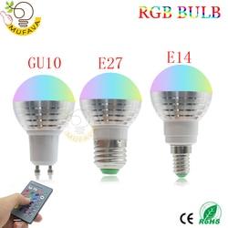Светодиодная RGB-лампа E27 E14 gu10, 220 В перем. Тока, 5 Вт, 16 цветов