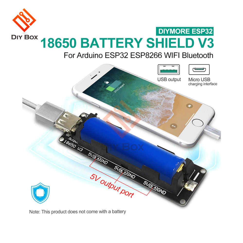 ESP32 ESP32S 18650 batterie bouclier V3 carte d'extension Micro Port USB type-a USB 0.5A Module pour Arduino Wemos Raspberry Pi