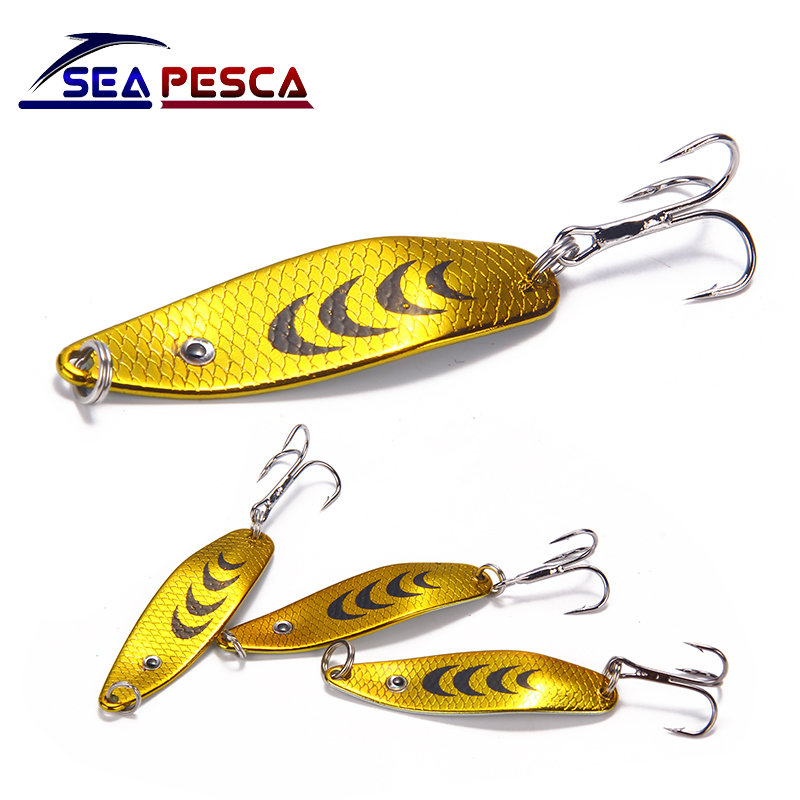 SEAPESCA Metal Spoon Fishing Lure Spinner Bait Colorful Sequins Hooks 6.5g Artificial Hard Bait Tackle Fishing Accessories ZB487