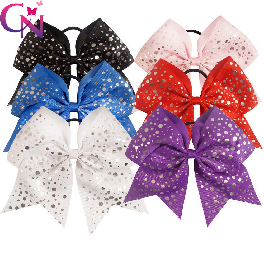 30 Pcs/lot 7.5 High Quality Handmade Large Sliver Dots Cheer Bow For Girls Kids Children Cheerleading Hair Bow Hair Accessories