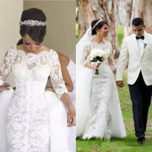 kejiadian 3/4 Sleeve Wedding Dresses Detachable Train