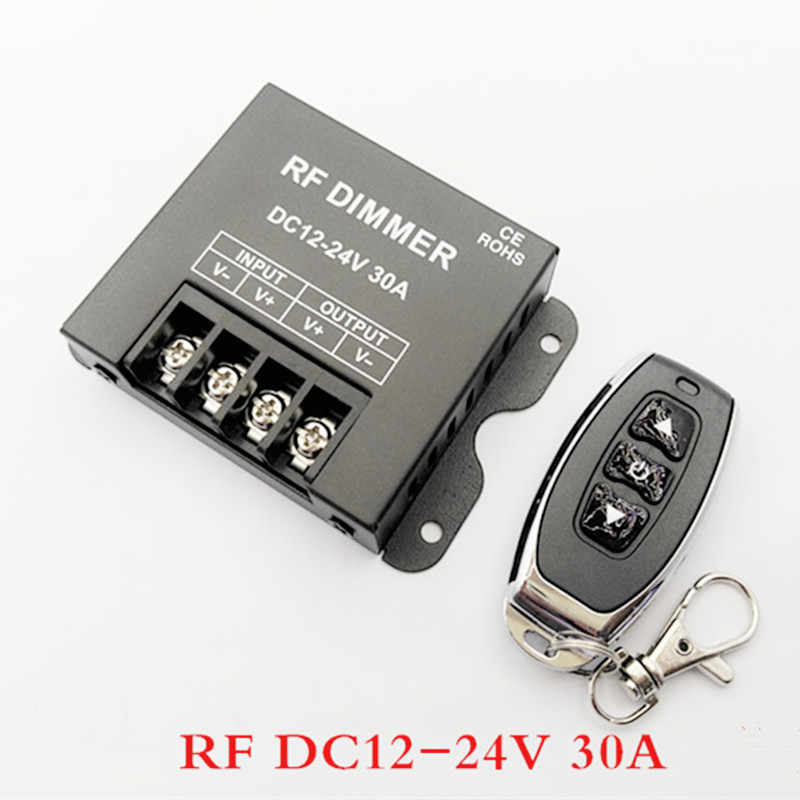 1CH LED Dimmer DC12V-24V 8A 20A 30A 3Key LED Single Warna Dimmer Controller dengan Nirkabel RF Remote untuk Satu Warna LED Strip