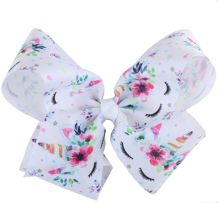 20pcs Free shipping 7 Inch Unicorn Grosgrain Ribbon Hair Bows for Girls Printed ribbon Hair Clips Hair Accessor