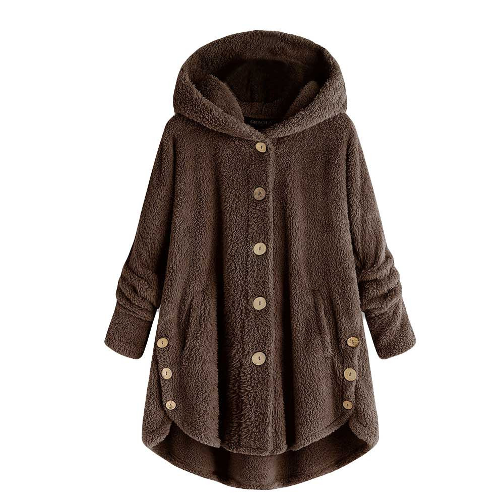 2020 Winter Coat Women Hooded Coat Fashion Female Solid Button Coat Fluffy Tail Tops Hooded Pullover Loose Outerwear Coat