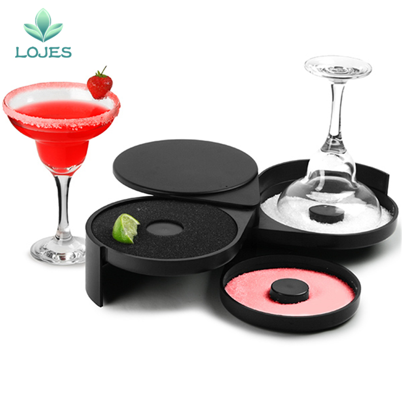 New Glass Rimmers 3 Tier Salt Sugar Margarita Cocktail Glass Rimmer Home Bar Accessory Tool Bartender image