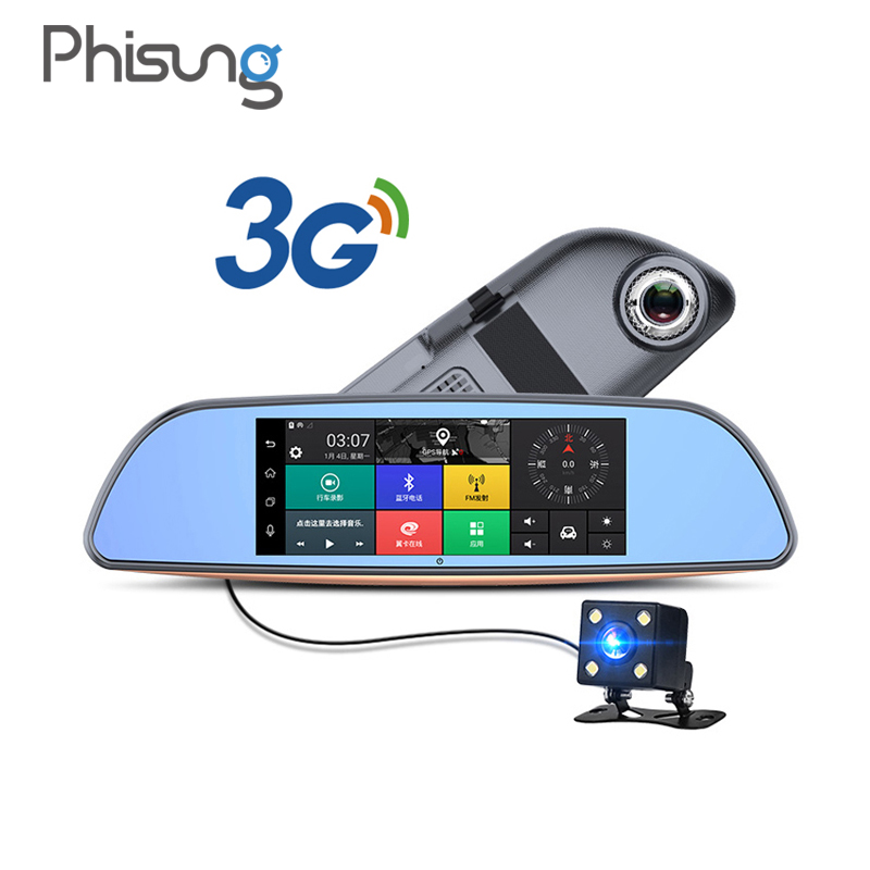 Free 32GB card 3G Car DVR Android 5 0 Bluetooth GPS WIFI Dual lens rearview mirror