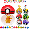 1 UNIDS 7 CM Pokeball + 1 Unids Mini Figuras de Acción de Juguete 1 Unids Pokeball Envío Al Azar Japón Anime Juguetes regalos Para Los Niños