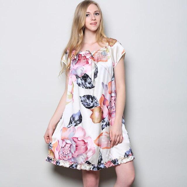 100% Maulbeerseide Nachthemden Frauen Fashion Floral Vintage ...