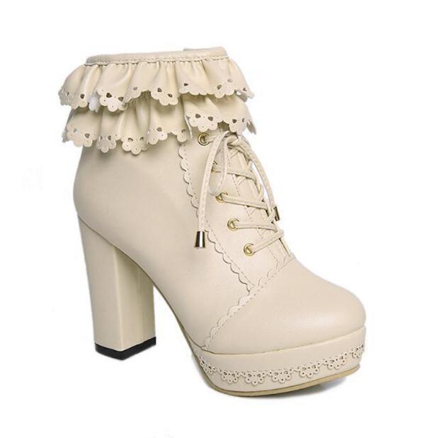 Lolita stivali tacchi Alti stivali In Pizzo scarpe Un