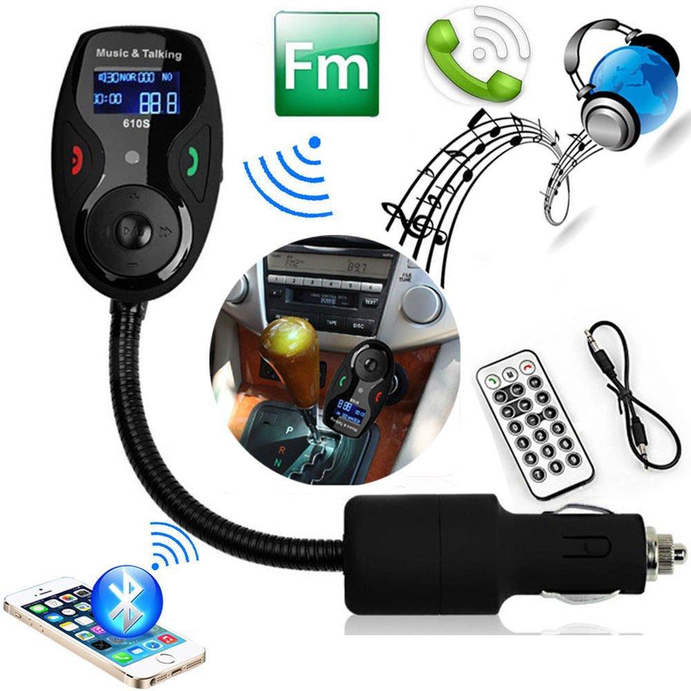 High Quality Wireless <font><b>Bluetooth</b></font> Handsfree Car Kit FM Transmitter Modulator Car mp3 Player With Mic