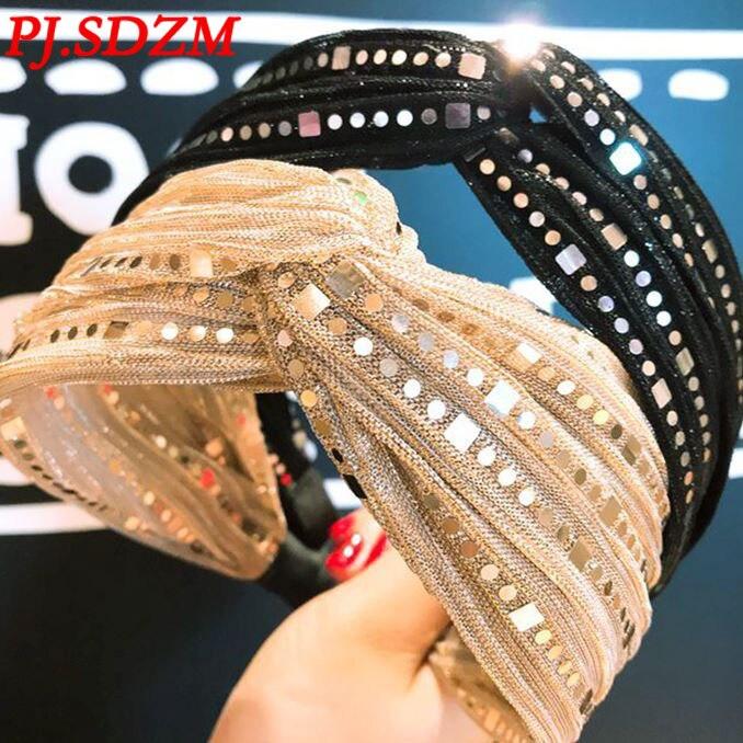 Neue Gliter Spitze Haarbänder Europa Sterne Zeigen Luxus Strass Haar Bands Mode Bling Gaze Haar-accessoire Geschenk Mädchen
