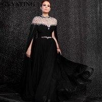 Yousef Aljasmi Черный шифон Длинные Арабский вечернее платье с накидкой рукава Кристалл Стразы высокое средства ухода за кожей Шеи Дубай Пром
