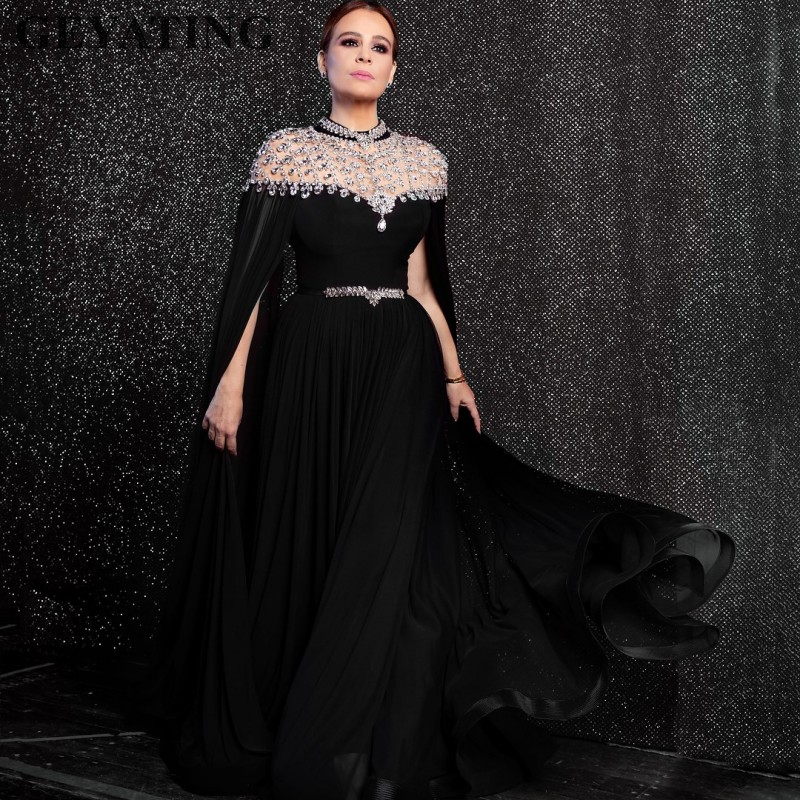 Yousef Aljasmi Black Chiffon Long Arabic Evening Dress with Cape Sleeves Crystal Rhinestones High Neck Dubai Prom Formal Dresses