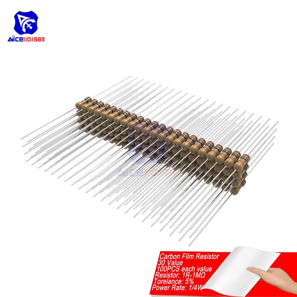 100PCS Carbon Film Resistor 5% 1/4W 0.25W 1R-1MΩ 1R 10R 100R 220R 1K 2.2K 4.7K 10K 22K 47K 100K 470K 1MΩ Ohm Resistance