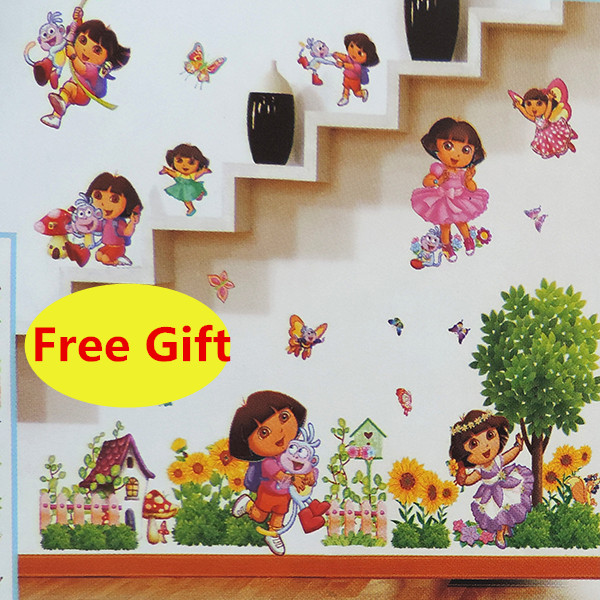 3D Cartoon Dora Girl Wall Sticker Home Decoration Wall Decals For Kids  Children Rooms Kindergarten Livingroom