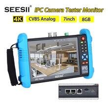 SEESII probador de cámara IP 9800PLUS, 7 pulgadas, 1920x1200, 4K, 1080P, IPC, Monitor de vídeo CCTV, Audio, POE, prueba de pantalla táctil, HDMl Discovery 8GB