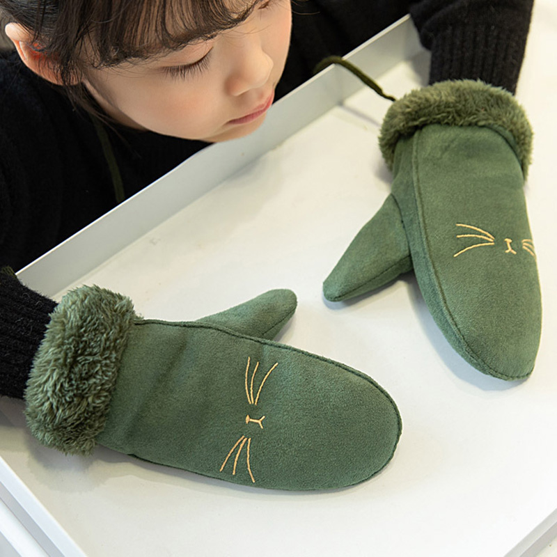 Fashion Children's Cute Cartoon Cat Mittens Boy/Girls Winter Plus Plush Cashmere Thicker Warm Suede Leather Gloves S58