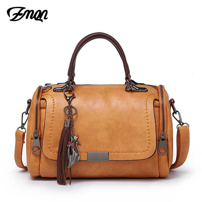 a5a1ef5cf59b ZMQN женские сумки 2018 сумки через плечо для женщин Ретро Винтаж женские  кожаные сумки для женщин