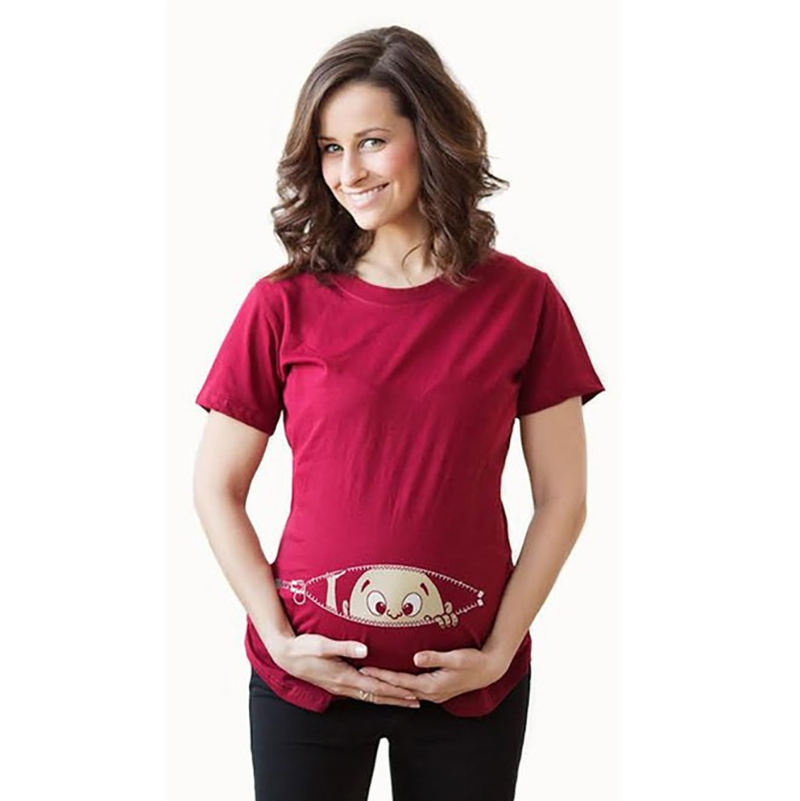 Dollplus Marternity Clothing for Pregnant Women Maternity T-Shirt Summer Casual Cartoon Funny Shirt Women Cotton Wear Tops