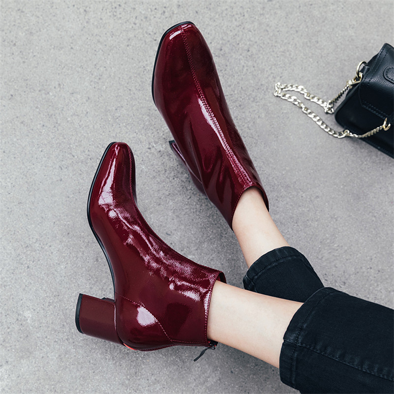 Image 5 - FEDONAS Brand Winter Women Ankle Boots Fashion Square Toe High Heels Genuine Cow Patent Leather Chelsea Boots Party Shoes Woman-in Ankle Boots from Shoes