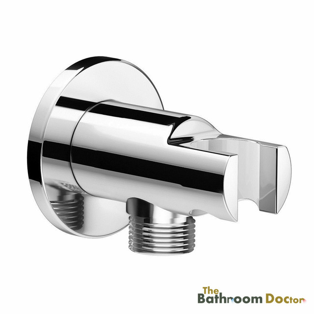 Round Chrome Bathroom Wall Connector Bracket Shower Outlet For Hand Held Mixer Head Hose