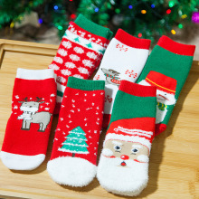 Christmas Themed Children Pure Cotton Cartoon Jacquard Socks Red Christmas Baby Girl Socks Absorb Sweat Permeability Socks