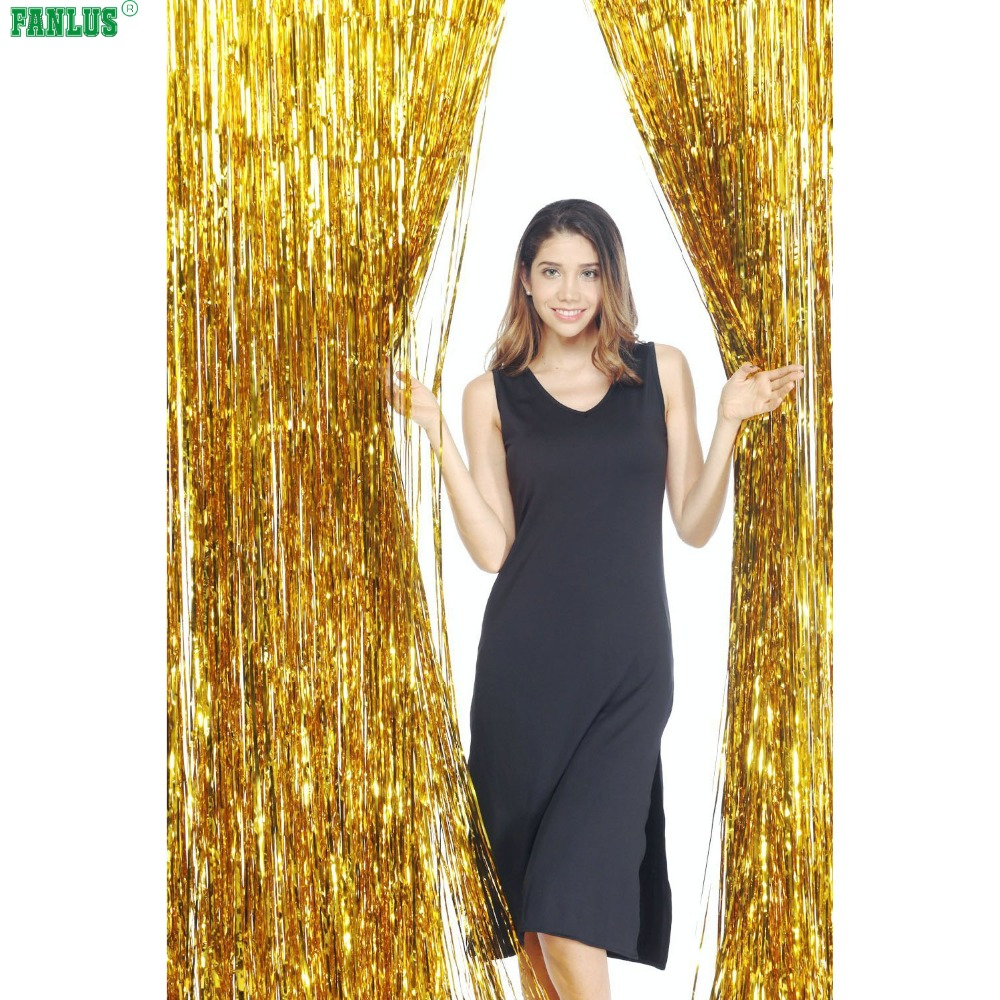 FANLUS 3.2 ft x 9.8 ft Μεταλλική ταινία Tinsel - Προϊόντα για τις διακοπές και τα κόμματα - Φωτογραφία 1