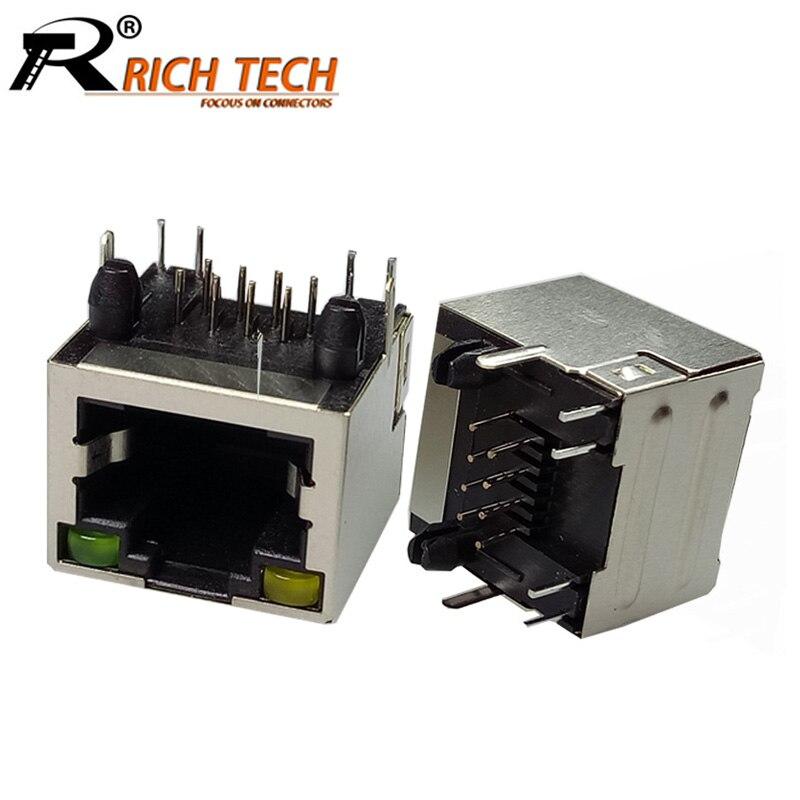 10pcs/lot 8P8C RJ45 Connector Single Port w/ Yellow Green LED Light Female Jack Socket PCB for Ethernet Network Data Transfer rj45 pcb jack 2 ports dual port socket network interface cable for lan connector