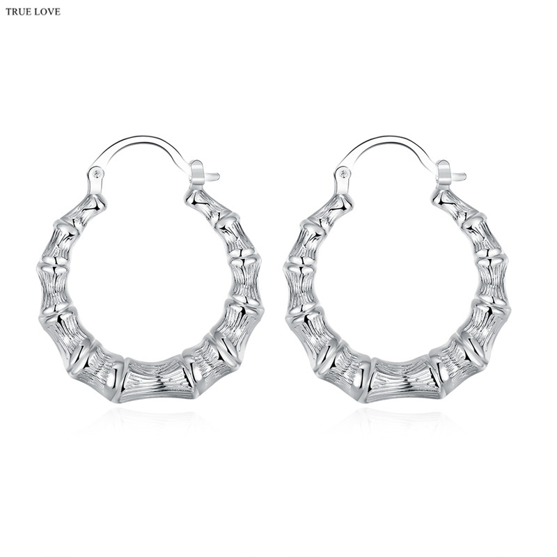 E139 Hot Silver Bamboo Hoop Earrings Street Style Fashion Jewelry For Woman Good Quality Factory Outlet Free Shipping In From