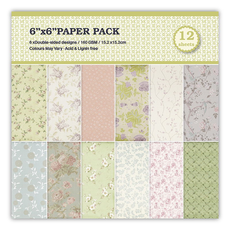 New 6 Double-side Retro European flower background paper pads patterns 12 sheets,DIY Craft Scrapbooking Paper Pack