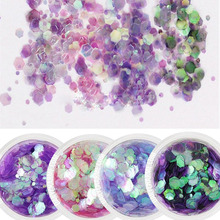 1Box 10ML Sequin Unicorn Chunky MIX Glitter Face/Body Nails Art Gems Beauty Accessories 4 StyleS Holographic Hexagone