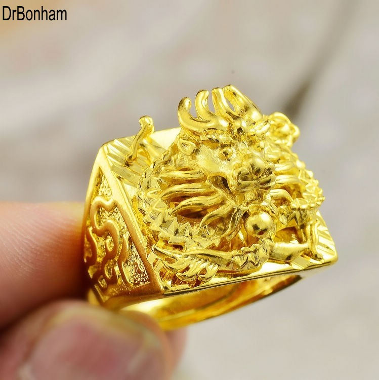 Luxurious Large Engraving 3d Dragon Men Wide 24k Gold Filled Male Big Finger Ring Party Wedding