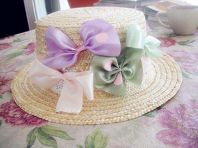 Princesa lolita lolita dulce lourie pastel arco trenza de paja de ala del strawhat plano original