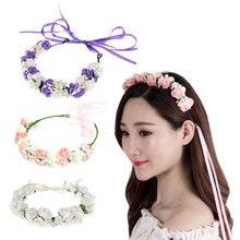 1 Pcs Wedding Headwear Bohemia Flower Hairband Children Girls Crown Floral Headband Party Festival Hair Band