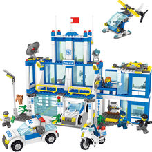 730pcs Compatible Legoinglys Police Station Prison Building Blocks City Policeman Figures Bricks Educational Toys For Children(China)