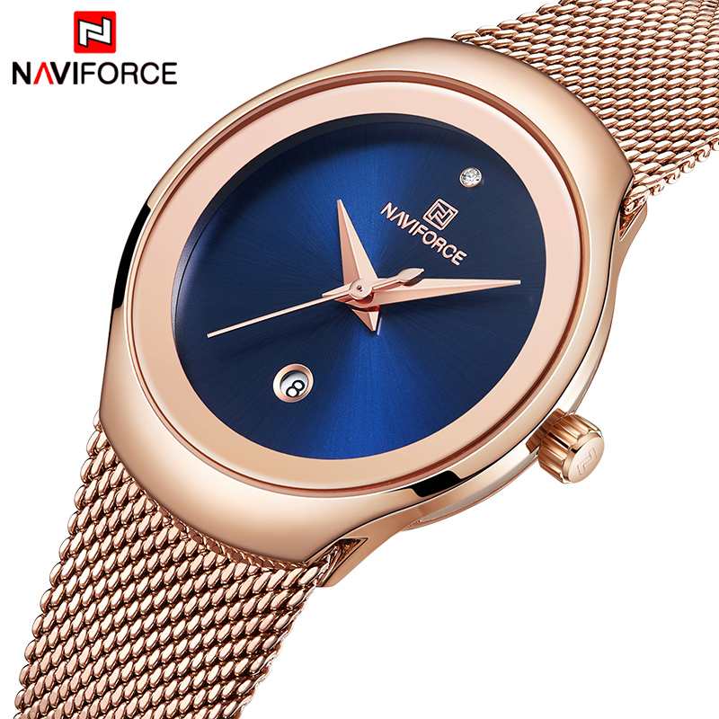 NAVIFORCE Women Watch Luxury Brand Fashion Casual Ladies Quartz Wristwatch Rose Gold Stainless Steel Mesh Dress Clock For Girl