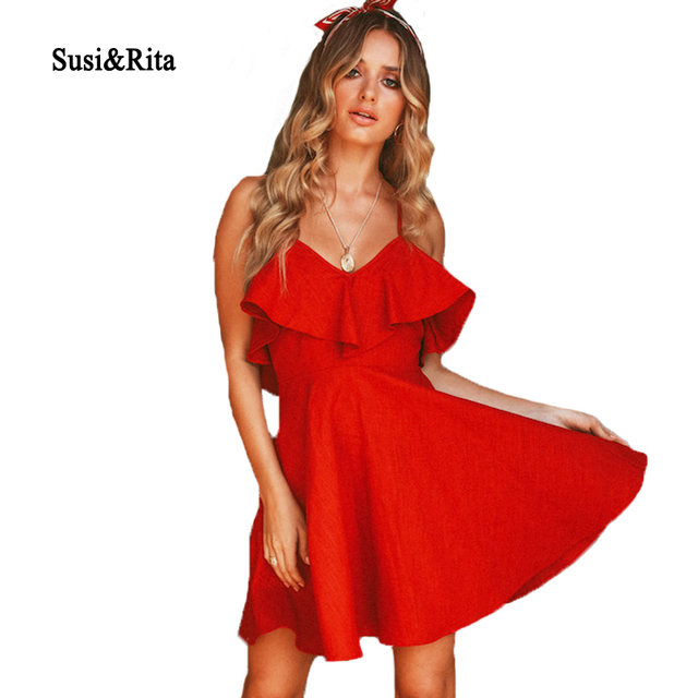 1d1188ab3ef7 Susi&Rita 2018 Black Party Dress Women Sexy Backless Beach Dress Summer  Ruffled Spaghetti Strap Mini Dress Vestidos Robe Femme