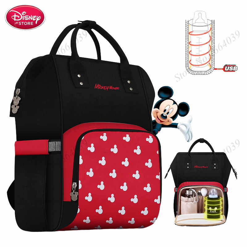 2019 Hot Disney Waterproof Diaper Bags USB Bottle Feeding Travel Backpack Baby Mickey Bags Storage Bag Mummy Bags For Baby Care