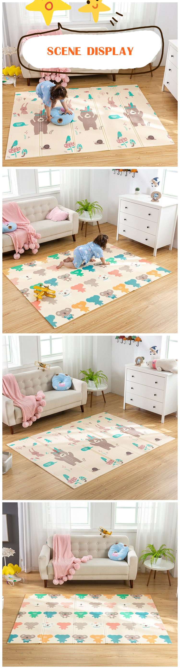 HTB1V1wNa75E3KVjSZFCq6zuzXXa5 Infant Shining Foldable Baby Play Mat Thickened Tapete Infantil Home Baby Room Puzzle Mat  XPE 150X200CM Splicing 1CM Thickness