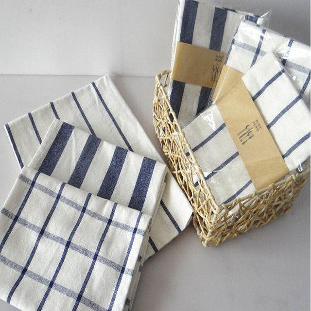 Stripe Placemat Kitchen Linen Striped Checkered Tablecloth Antifouling Easy  To Clean Kitchen Textiles Scouring Pad Japanese