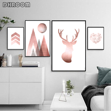 Rose Gold Prints Geometric Wall Art Abstract Mountains Canvas Painting Deer Poster Print Nordic Decoration Pictures Home Decor