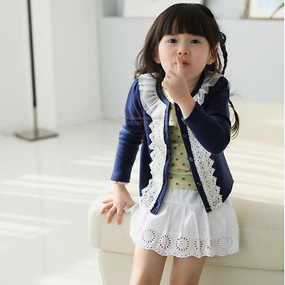 Fashion Pretty Cute Baby Girls 2-7 Years Blue Pink Spring Autumn Jackets coats Cotton+Lace