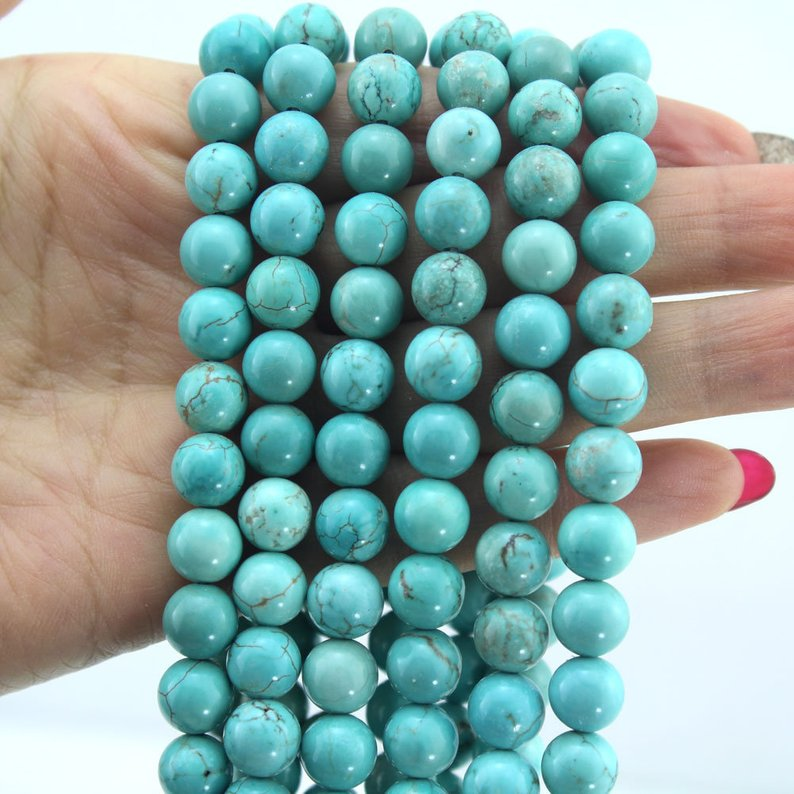 AA 10mm Natural Turkey Turquoise Gemstone Beads Necklaces Long 36 inches