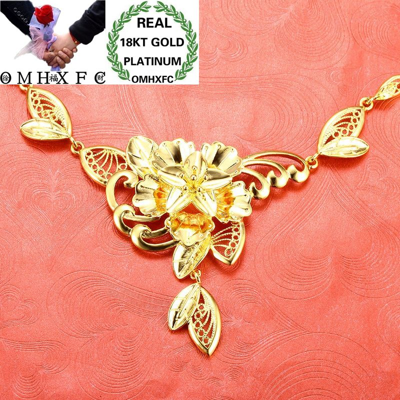 OMHXFC Wholesale European Fashion Woman Bride Birthday Wedding Hollow Vintage Flower Leaves 18KT Gold Pendant Necklace EX95OMHXFC Wholesale European Fashion Woman Bride Birthday Wedding Hollow Vintage Flower Leaves 18KT Gold Pendant Necklace EX95