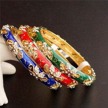 Pierced Chinese Enamel filigree butterfly Bangle Women Cloisonne Rhinestone Bangles High Quality Fashion Ethnic Jewelry Gift