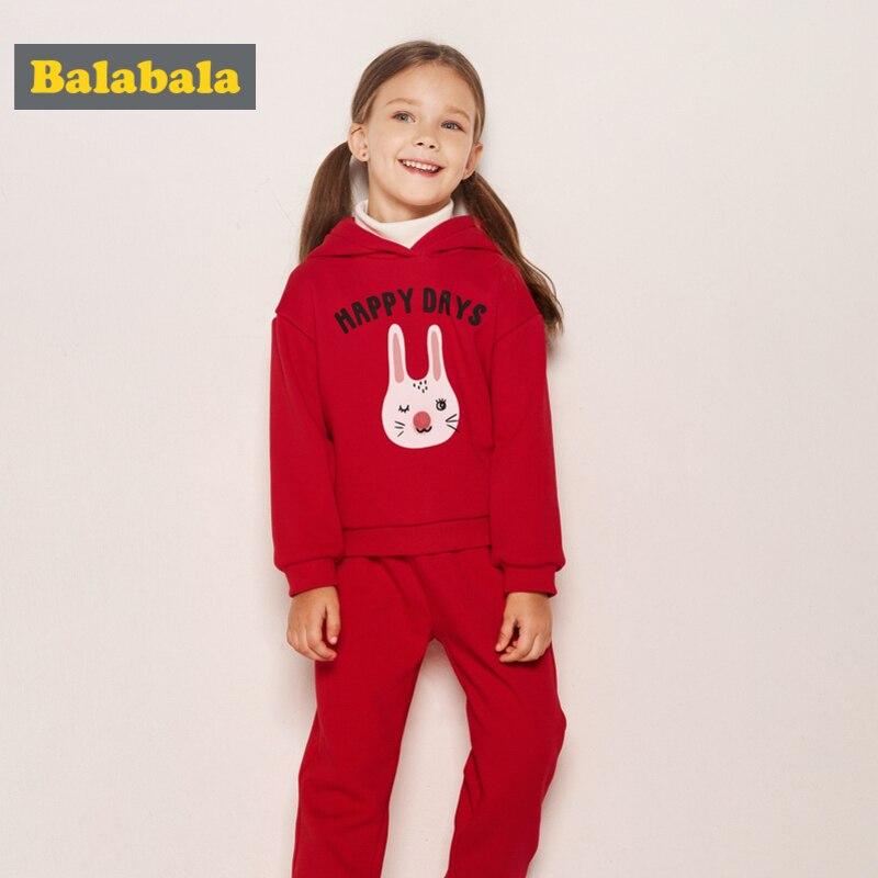 Balabala enfant en bas âge fille polaire doublé lapin sweat ensemble enfants fille 2 pièces sweat à capuche + Pull-on pantalon ensemble hiver