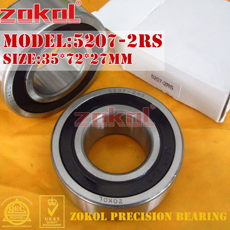 ZOKOL bearing 5207-2RS 3207 2RZ (3056207) Axial Angular Contact Ball Bearing 35*72*27mm 5307 open bearing 35 x 80 x 34 9 mm 1 pc axial double row angular contact 5307 3307 3056307 ball bearings
