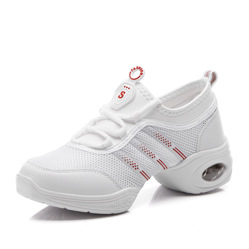 White Mesh Dance Shoes Woman Sneaker Square Dancing Shoes Spring Autumn Saltation Female Soft Bottom Shoes Modern Jazz