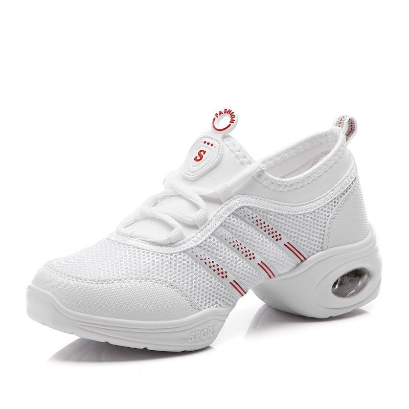 شبكة بيضاء أحذية الرقص امرأة حذاء - أحذية رياضية